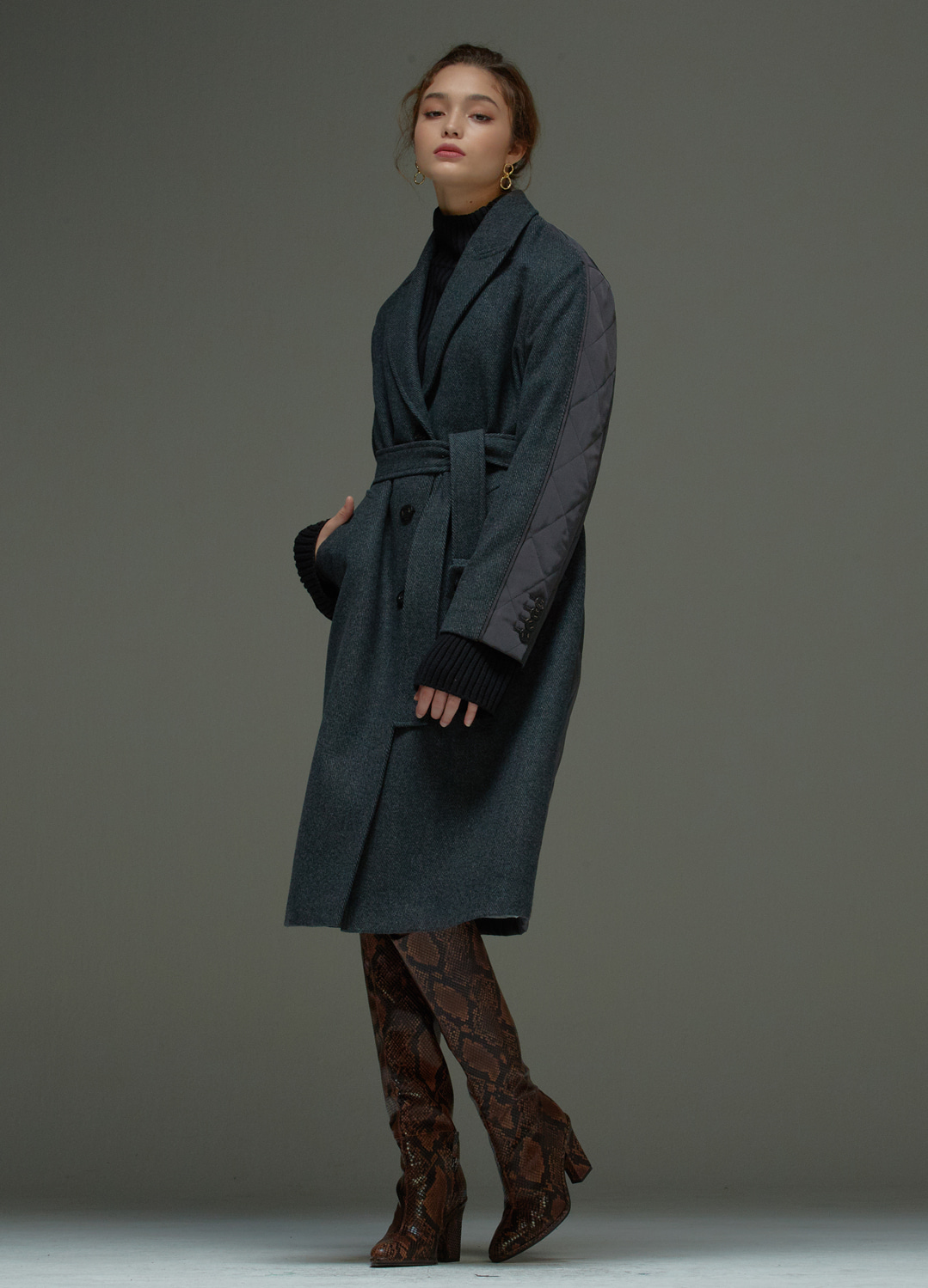 twill padding coat Gray